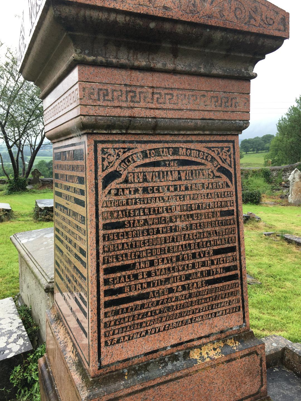 Inscription of William Williams' memorial