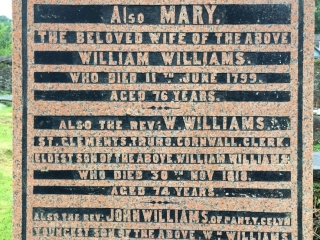 Inscription for Williams' wife and sons