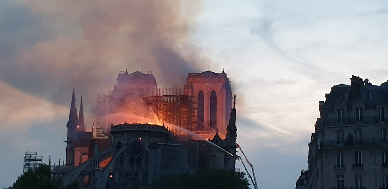 Notre Dame on fire photo by  John Crothers